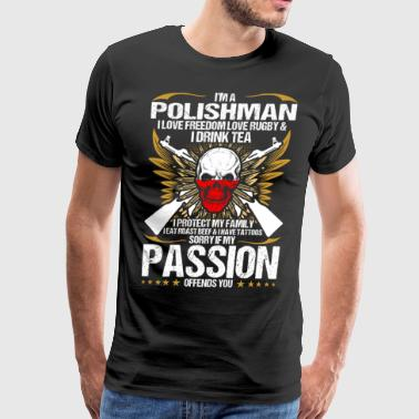 Im A Polishman I Love Freedom Love Rugby - Men's Premium T-Shirt