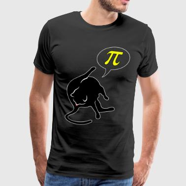 Cat licks butt and thinks of pi mathematics pi day - Men's Premium T-Shirt