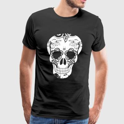 Flowered Skull Tee Shirt - Men's Premium T-Shirt