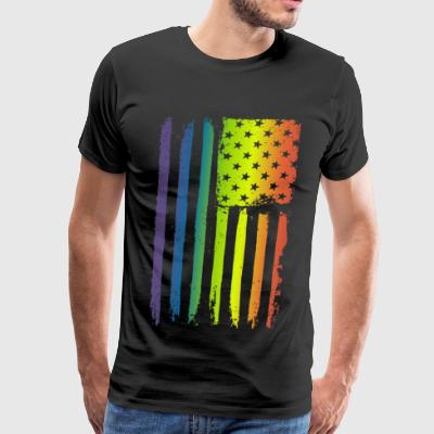 Gay Pride - American LGBT Rainbow Flag - Men's Premium T-Shirt