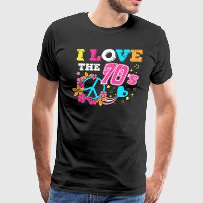 I love the 70s/1970s/1970/Retro/Peace/Flowers/Love - Men's Premium T-Shirt