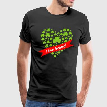 Heart of Shamrocks - I love Ireland - Men's Premium T-Shirt