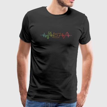 sewing machine gift cutter funny heartbeat rainbow - Men's Premium T-Shirt