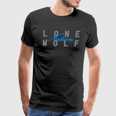 Lone Wolf Nation Blue Script - Men's Premium T-Shirt