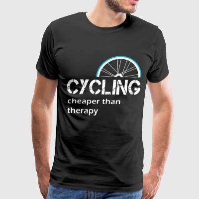 CYCLING CHEAPER THAN THERAPY - Men's Premium T-Shirt
