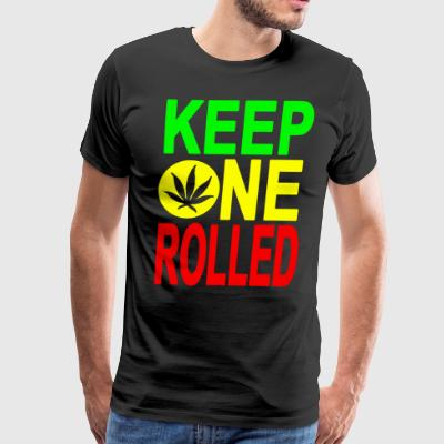 KEEP ONE ROLLED Black funny weed - Men's Premium T-Shirt