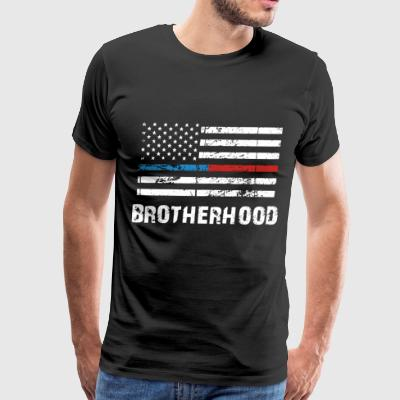 THIN BLUE RED LINE BROTHERHOOD FLAG FIREFIGHTER - Men's Premium T-Shirt