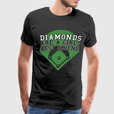 Diamonds Are A Girls Best Friend Softball Baseball - Men's Premium T-Shirt