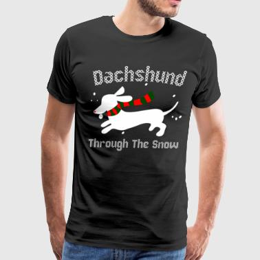 Dachshund Through The Snow Ugly Christmas Sweater - Men's Premium T-Shirt