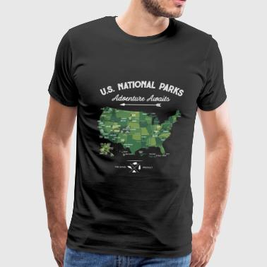 National Park Map Vintage All 59 National Parks - Men's Premium T-Shirt