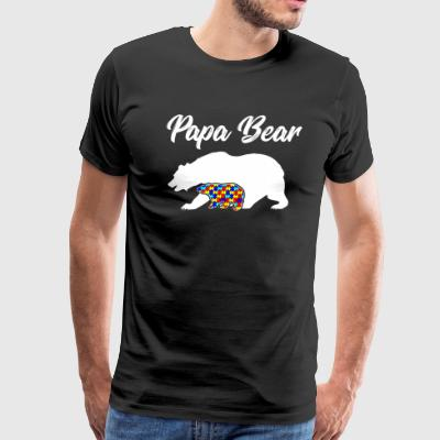 Papa Bear, Autism Awareness Dad - Men's Premium T-Shirt