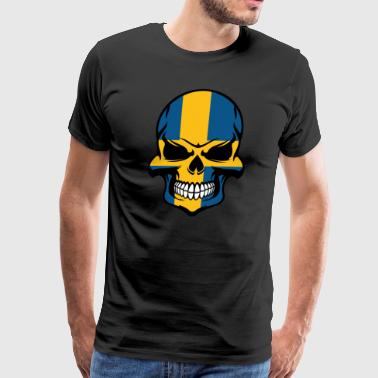 Swedish Flag Skull Cool Sweden Skull - Men's Premium T-Shirt