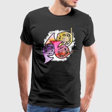 COLORFUL FRENCH HORNS SHIRT - Men's Premium T-Shirt