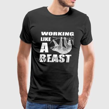 Working in office like a beast, or like a sloth - Men's Premium T-Shirt