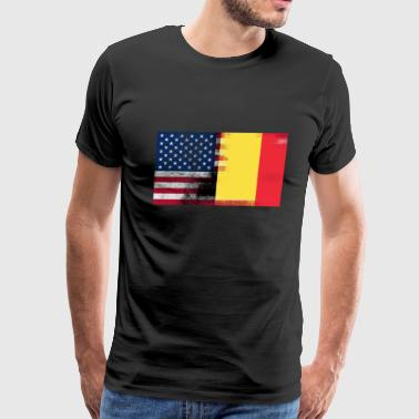 Half Belgian Half American 100% Awesome Flag Belgi - Men's Premium T-Shirt