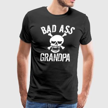 Bad Ass Grandpa Skull Grandparents Day - Men's Premium T-Shirt