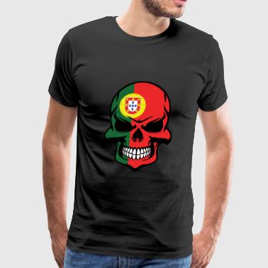 Portuguese Flag Skull Cool Portugal Skull - Men's Premium T-Shirt