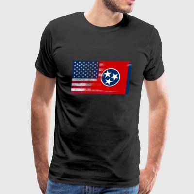 Tennessee American Flag Fusion - Men's Premium T-Shirt