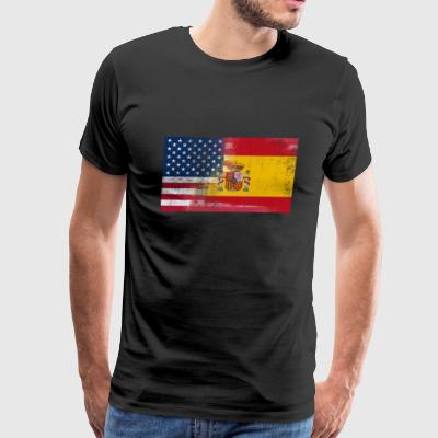 Spanish American Half Spain Half America Flag - Men's Premium T-Shirt