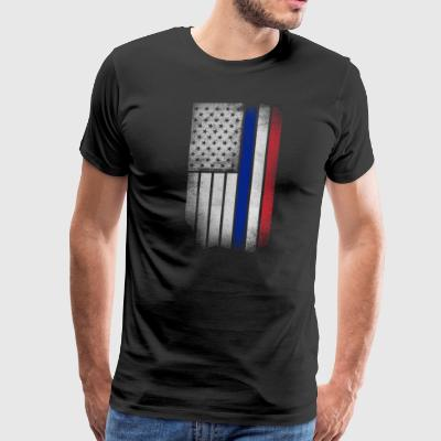 French American Flag - Half French Half American - Men's Premium T-Shirt