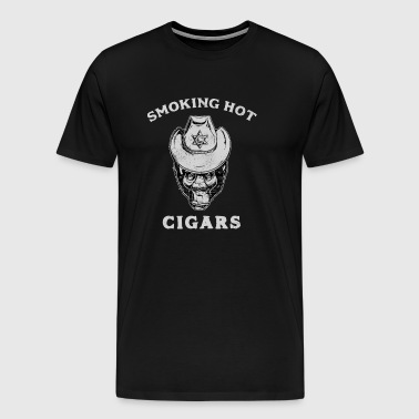 Smoking Hot Cigars Smoke Cigar Smoker Lovers - Men's Premium T-Shirt