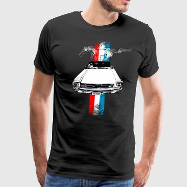 auto_mustang_stripes_distressed - Men's Premium T-Shirt