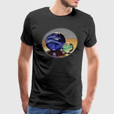 Blue and Green Marbles - Men's Premium T-Shirt