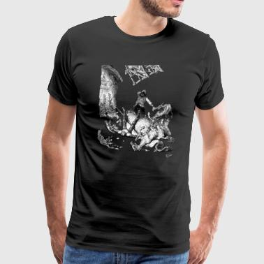 Don Quixote Windmill scene - adapted from Dore - Men's Premium T-Shirt