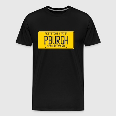 PBURG Pittsburgh Pennsylvania Retro License Plate - Men's Premium T-Shirt