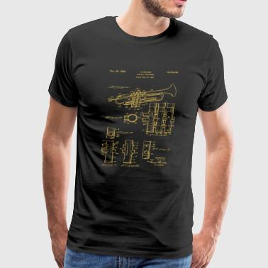 Trumpet Patent Music Musician Brass Band Orchestra - Men's Premium T-Shirt