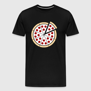 Pizza Pie – Tan and White Stencil - Men's Premium T-Shirt