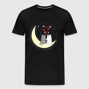 Couple cats on the moon - Men's Premium T-Shirt