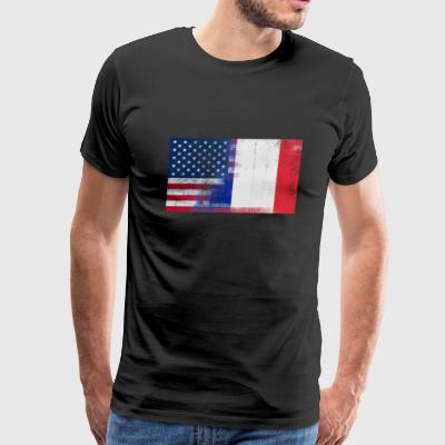 French American Half France Half America Flag - Men's Premium T-Shirt