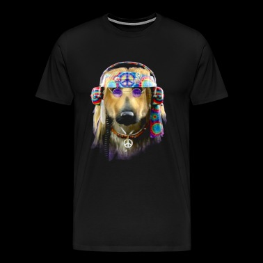 Groovy Dog Hippie Dog Peace Love - Men's Premium T-Shirt
