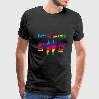 Love Is Love LGBT Hands gay couple romance loved - Men's Premium T-Shirt