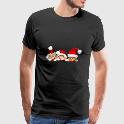 3 Christmas Cats in the Pocket - Men's Premium T-Shirt