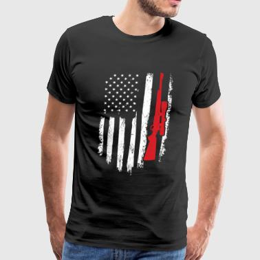 Hunter Gift Distressed American Flag - Men's Premium T-Shirt