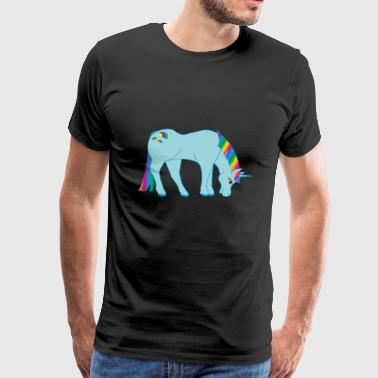 glittery rainbow unicorn mythical creature fable - Men's Premium T-Shirt