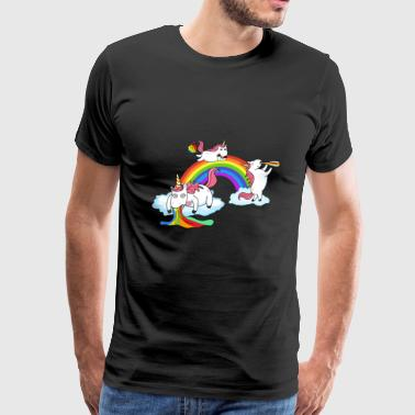 Unicorn Drunken Puking Farting - Men's Premium T-Shirt