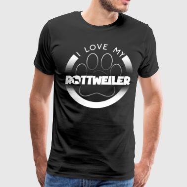 Funny Rottweiler T Shirt I Love My Rottweiler Circle Paw Chunky Font Logo - Men's Premium T-Shirt