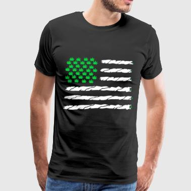 Green Marijuana Leaf American Flag - Men's Premium T-Shirt