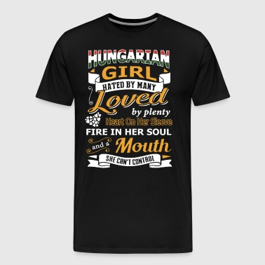Hungarian girl loved by plenty heart on her sleeve - Men's Premium T-Shirt