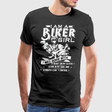 I am a biker girl i was born with a heart on my sl - Men's Premium T-Shirt