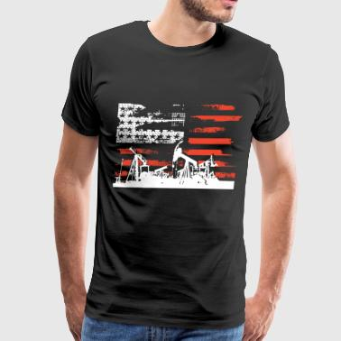 Oilfield Patriotic Flag With Oil Pumping Rig ameri - Men's Premium T-Shirt