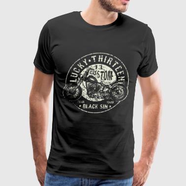 New Lucky 13 Black Sin Motorcycle Hot Rod Car Work - Men's Premium T-Shirt