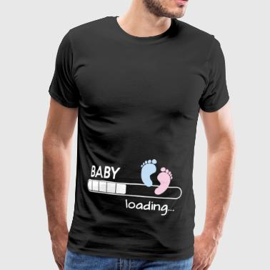 Happy Mama Woman s Maternity Baby Loading Feet Fu - Men's Premium T-Shirt