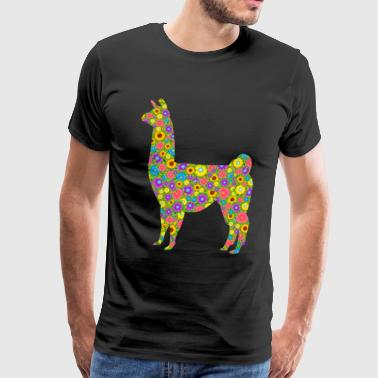 Llama Flower Shirt - Men's Premium T-Shirt