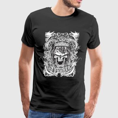 grunge vector t shirt with angry king skull - Men's Premium T-Shirt