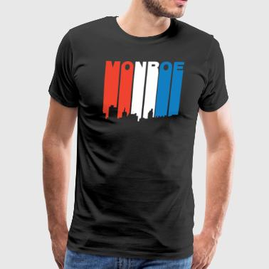 Red White And Blue Monroe Louisiana Skyline - Men's Premium T-Shirt
