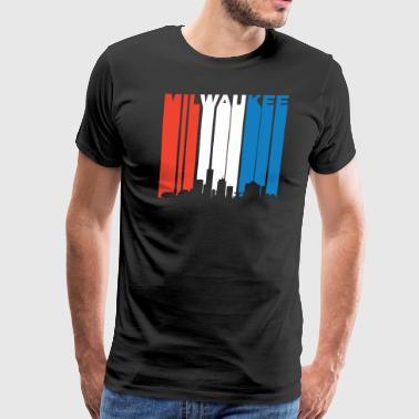 Red White And Blue Milwaukee Wisconsin Skyline - Men's Premium T-Shirt